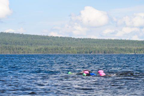 Kaksi uimaria Kitkajärvellä Kuusamossa
